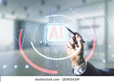 Double exposure of businessman hand with pen working with creative artificial Intelligence abbreviation hologram on blurred office background. Future technology and AI concept