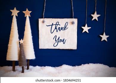Árbol de navidad, fondo azul, nieve, texto, agradecimiento