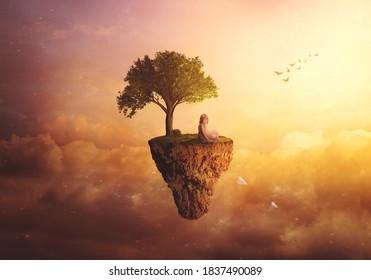 Fantasía compuesta / fondo surrealista - Niña sentada en una isla flotante, lanzando aviones de papel