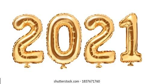 金箔風船数字2021。明けましておめでとうございます2021年の休日。白い背景の上の2021年の黄金の装飾の休日。