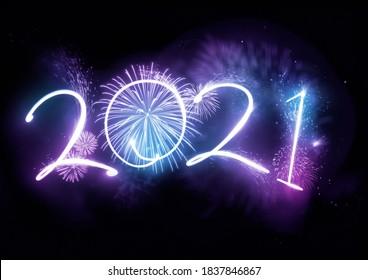 Verwelkom het jaar 2021 dat wordt weergegeven met vuurwerk en stroboscooplichten. Nieuwjaar viering concept.