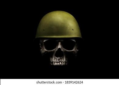 Militärsoldat Schädelkopf Helm Kämpfer Krieger, Krieg, Soldat. Gestaltungselement für Logo, Etikett, Emblem, Zeichen, Plakat.