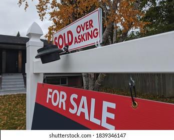 住宅街の家の前で売りに出された新鮮な新しい看板。不動産バブル、墜落、熱い住宅市場、高値の不動産、バイヤー活動のコンセプト。セレクティブフォーカス。