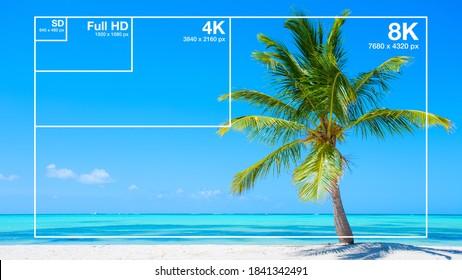 Visueller Vergleich der Videoauflösungen 8K, 4K, Full HD und SD
