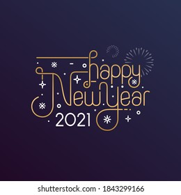 Happy New Year 2021 vector illustration for banner, flyer and greeting card