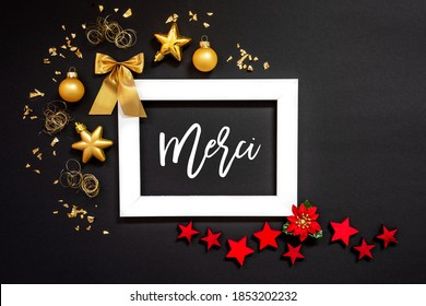 Frame, Red And Golden Christmas Decoration, Merci Means Thank You