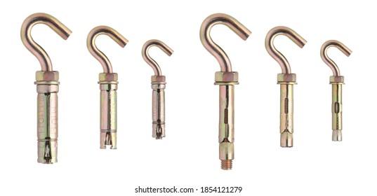 フック付きアンカーボルト。コンクリート構造用フック付きアンカー。バルクハードウェア。シールドアンカー付きスチールアイボルト、M12、M10、M8、M6。