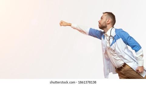 arts superheld vliegen en vechten tegen ziekte geïsoleerd op een witte achtergrond