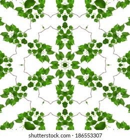 白い背景で隔離の新鮮な緑の葉の抽象的なフレームパターン