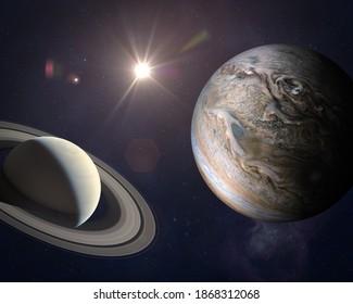 Große Verbindung: Jupiter und Saturn treffen sich zur Sonnenwende. Seltene Jupiter-Saturn-Konjunktion. Elemente dieses Bildes von der NASA eingerichtet.