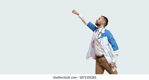 arts superheld vliegt als een superman en vecht tegen ziekte geïsoleerd op blauwe achtergrond.