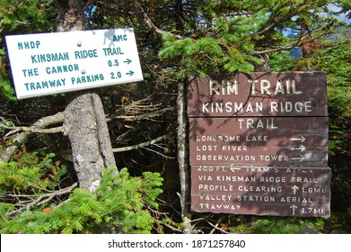 Franconia Notch with fall foliage and Rim Trail sign on top of the Cannon Mountain in Franconia Notch State Park in White Mountain National Forest, near Lincoln, New Hampshire NH, USA.