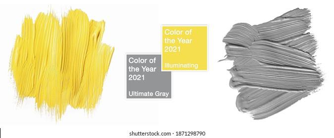 Farben des Jahres 2021 Leuchtendes Gelb und ultimatives Grau. Probe der Farbabstrichbeschaffenheit mit dem geometrischen Rahmen lokalisiert auf weißem Hintergrund. trendige Schönheit, Mode, Make-up Design-Konzept