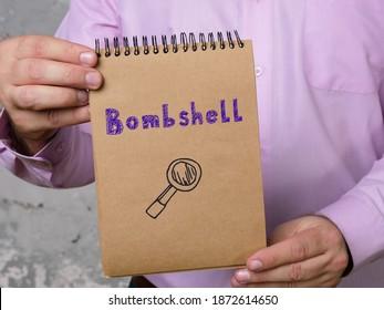 Geschäftskonzept, das Bombe mit Zeichen auf dem Blatt bedeutet.