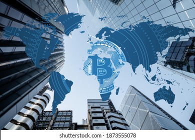 Bitcoin entering mass adoption of hedge funds, family offices, pension funds, VC capital, financial institutions and banks with a backdrop of world map and corporate business skyscrapers
