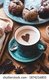 Cup of coffee on wooden table. hot cocoa. romance, valentine's day