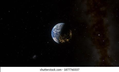 Tag- und Nachtansicht der Erde aus dem Weltraum