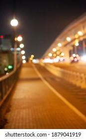 Night bridge landscape, out focus