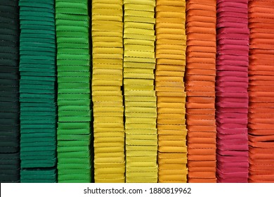 Colorful EVA foam sheets in colors of rainbow.  multi-coloured