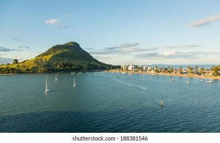 La bahía y el puerto de Tauranga con aguas tranquilas frente al monte