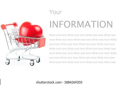 ショッピングカートまたは白い背景で隔離のトロリーの赤い形のハート血圧コントロール-ヘルスケアの概念