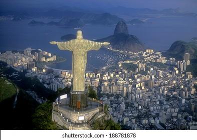 Rio de Janeiro, RJ, Brazil: Aerial view of Christ, symbol of Rio de Janeiro, standing on top of Corcovado Hill, overlooking Guanabara Bay