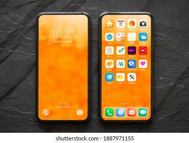 Mobiltelefon mit gesperrten und Startbildschirmen, Modell der Benutzeroberfläche und App-Symbolen