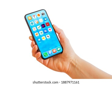 Person, die Telefon in der Hand hält, Startbildschirmmodell mit App-Symbolen