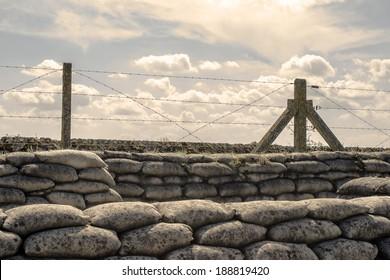 Loopgraven van de Eerste Wereldoorlog zandzakken in België