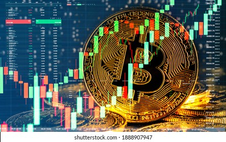 Bull market trend. Cryptocurrency. Bitcoin Stock Growth. Chart shows a strong increase in the price of bitcoin. Investing in virtual assets. Investment platform with charts and bitcoin coin.