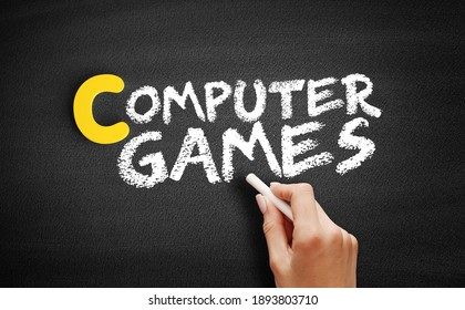 Computer games text on blackboard, concept background
