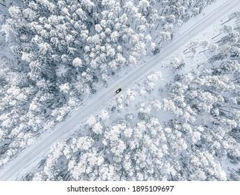 Wald im Schnee. Schneebedeckte Forststraße. Forststraße von oben