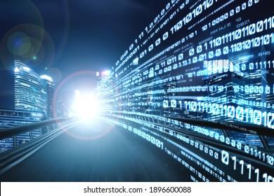 Digitaler Datenfluss auf der Straße mit Bewegungsunschärfe für eine schnelle Geschwindigkeitsübertragung. Konzept der zukünftigen digitalen Transformation, disruptive Innovation und agile Geschäftsmethodik.