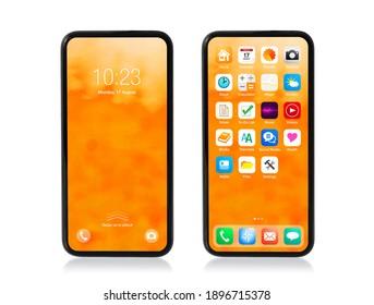 Mobiltelefon mit gesperrten und auf Weiß isolierten Startbildschirmen, Modell der Benutzeroberfläche und App-Symbole.
