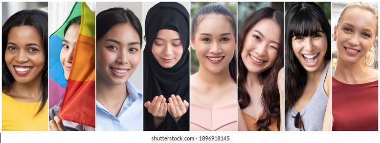 Collage aus verschiedenen und integrativen Frauen aus der ganzen Welt, Konzept des internationalen Frauentags oder IWD, Frauen aus aller Welt mit Vielfalt und Inklusivität, ethnische Zugehörigkeit und Religionstoleranz, Frauenrecht