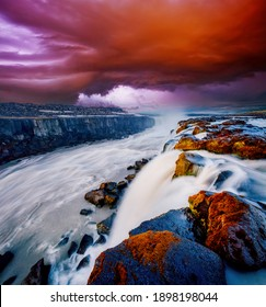 Atemberaubende Aussicht auf die große Selfoss-Kaskade. Standort Ort Vatnajokull National Park, Island, Europa. Lebendige Fototapete. Bild der beliebtesten Wahrzeichen der Welt. Entdecken Sie die Welt der Schönheit.