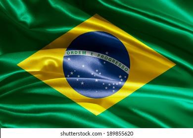 波のあるブラジル国旗の生地