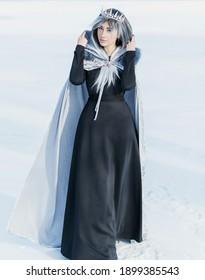 北極でのおとぎ話のシーン、冷たいファンタジールックの女性、銀の髪、雪の日のマントとドレス。コスプレコンセプト