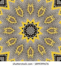 万華鏡の鉄道パターンの抽象的な背景。灰色のレンガと黄色の線の背景フラクタル曼荼羅。抽象万華鏡のアラベスク。幾何学的な装飾パターン