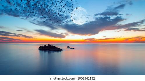 日没時に満月を背景に海の上を飛んでいる鳥のシルエット-長時間露光写真
