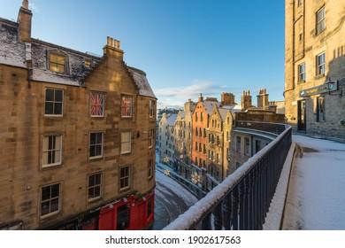 Victoria Street in Grassmarket die Inspiration für die Winkelgasse auf Harry Potter in Edinburgh, Schottland