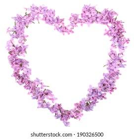 白で隔離されるハートの形の美しいライラック色の花