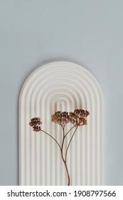 Composición de bodegón con yeso y flores secas en colores biege neutros y grises. Imagen de moda con espacio de copia. Simplicidad y fotografía conceptual minimalista. Enfoque selectivo