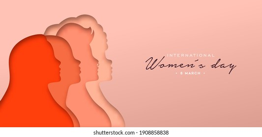 Happy Women Day greeting card illustration. 3D papercut diverse woman silhouette. Young girl team together for march 8th international women's event.