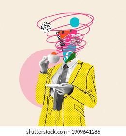朝のコーヒーは物事を良くします。コミックスタイルの黄色いスーツ。モダンなデザイン、現代アートのコラージュ。インスピレーション、アイデア、トレンディな都会の雑誌スタイル。テキストまたは広告を挿入するための負のスペース。