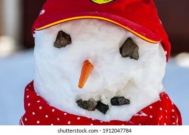 雪だるまの顔のクローズアップ