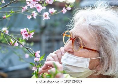 Una dona gran amb ulleres rodones de banyes i una màscara respiratòria protectora ensuma una branca d'un préssec rosat en flor. Quarantena, salut, precaucions. Coronavirus (COVID-19. Gaudi de la primavera