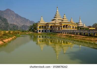 The monastery in the pond Mawlamyine, Chan Thar Gyi, Hha-an in Myanmar