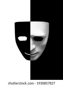 ツーフェイスエクスプレッション、フェイスマスクに黒と白、ツー