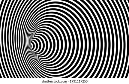 ワームホール錯視、幾何学的な黒と白の抽象的な催眠ワームホールトンネル、抽象的なツイストベクトル錯視3Dオプティカルアートの背景